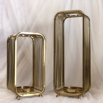 Gold box candle holders